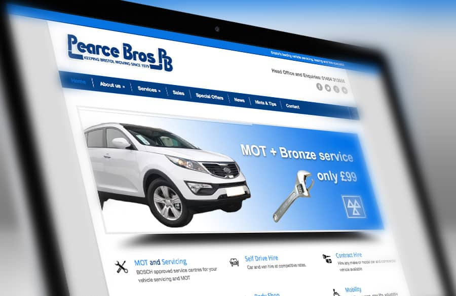 Website design and devlopment for Pearce Bros Bristol