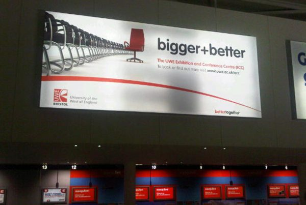 Graphic design for billboard poster at Bristol Airport